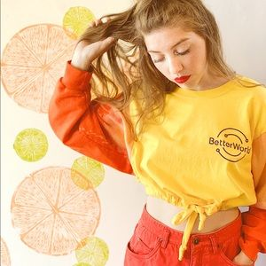 "Handmade ""BETTER WORLD"" drawstring cropped shirt"